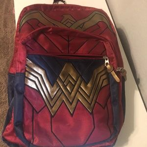 Burgundy and navy Wonder Woman backpack